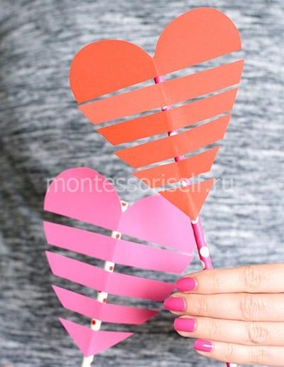 Валентинка из трубочки и бумаги