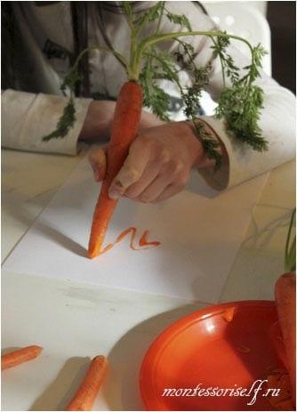 рисование морковкой