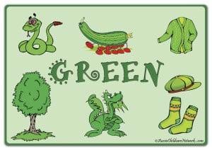 Зеленый цвет на английском с картинками