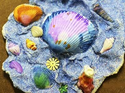 Поделка из ракушек морское дно 1
