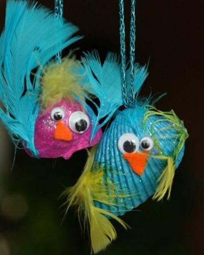 Птички из ракушек