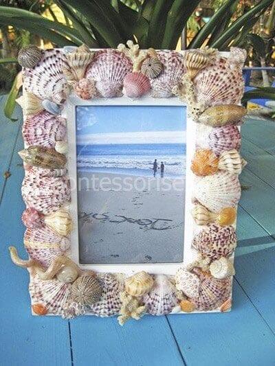 Рамка для фото из ракушек