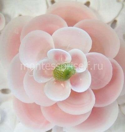 Розовый цветок из ракушек