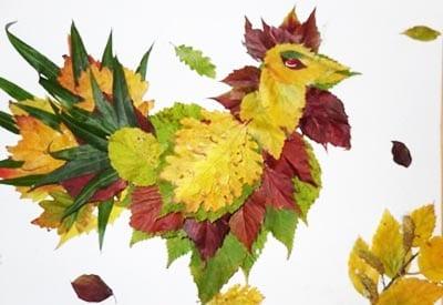 Петушок из листьев