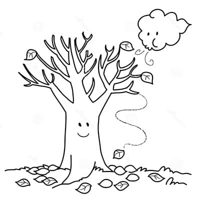 Осеннее дерево и тучка