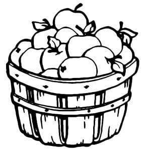 корзина с яблоками раскраска