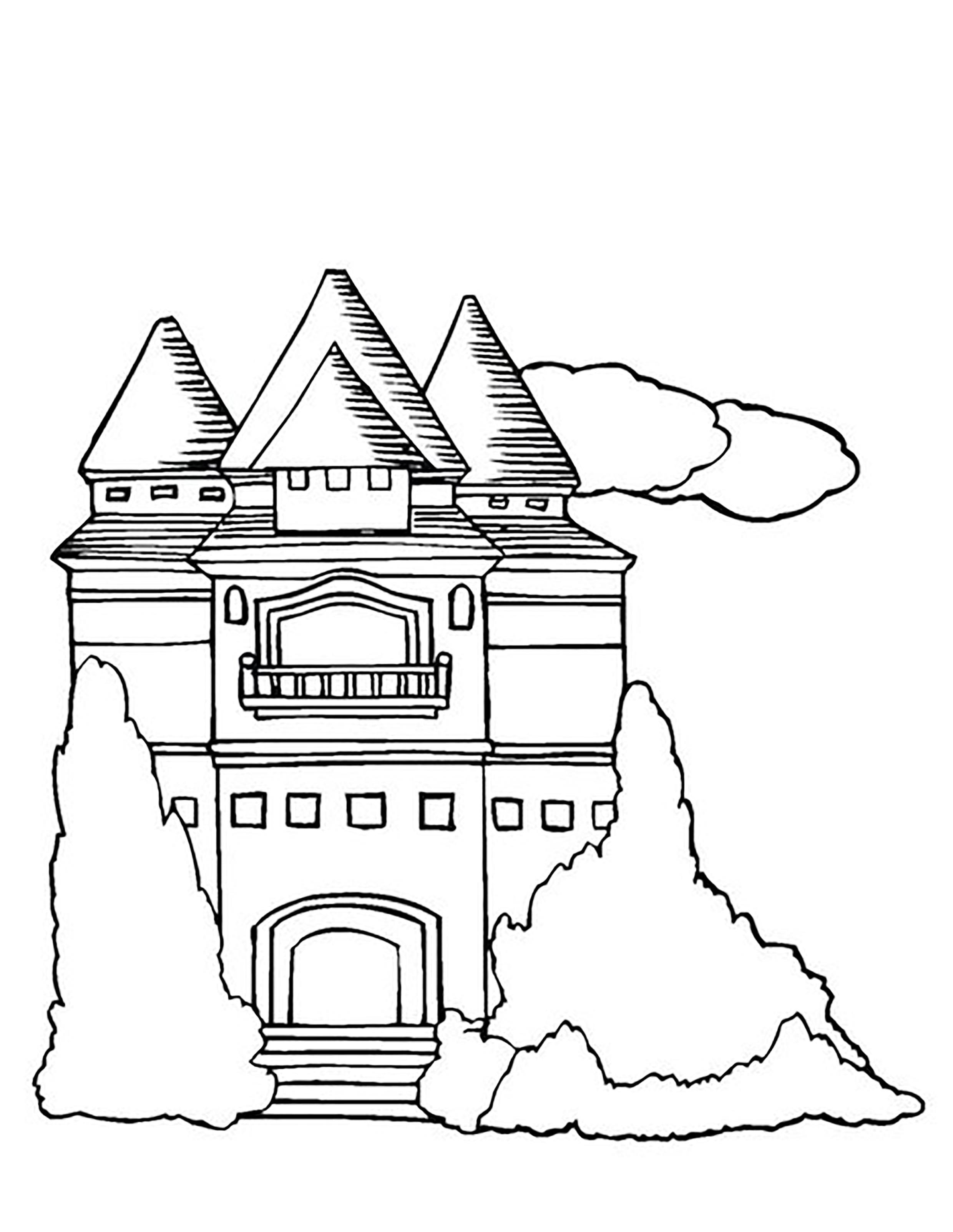 Раскраска замок средневековья