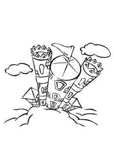 раскраска замок 7