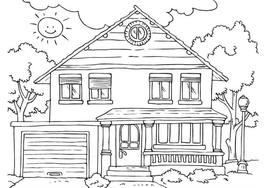 Раскраска дом на природе