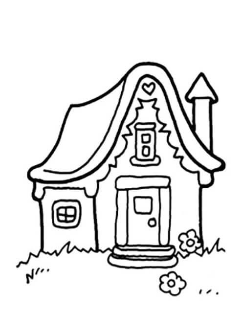 Раскраска милый домик