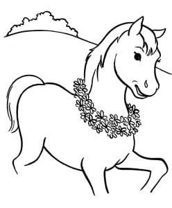 раскраска лошадь 8
