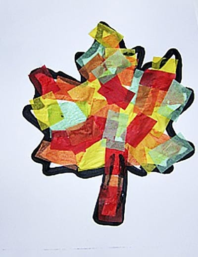 Осенний лист из кусочков бумаги