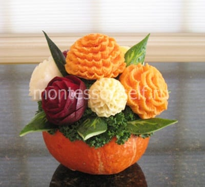 Vegetables in a vase from a pumpkin