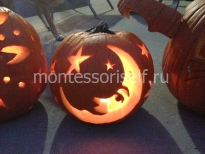 Flashlight frompumpkins with the moon and stars