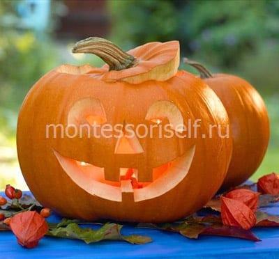 Фонарь Джека на Хеллоуин из тыквы