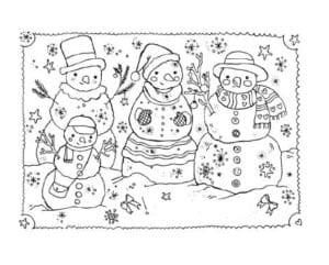 раскраска семья снеговиков