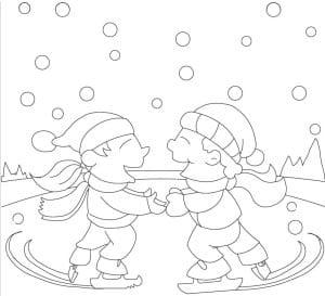 раскраска друзья катаются на коньках