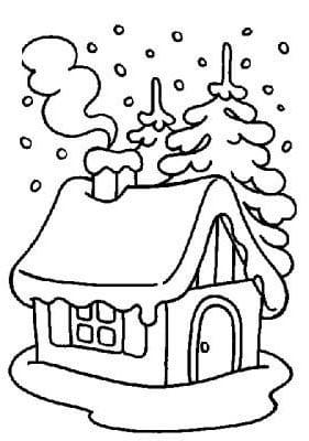 Раскраска зимнего дома