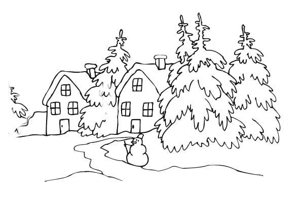 Раскраски зима природа распечатать