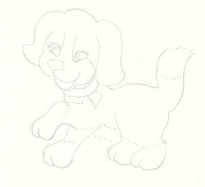 Собака - набросок карандашом