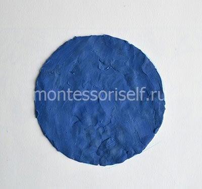 Наносим синий пластилин