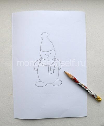 Рисуем силуэт снеговика