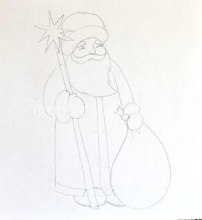 Дед Мороз набросок карандашом