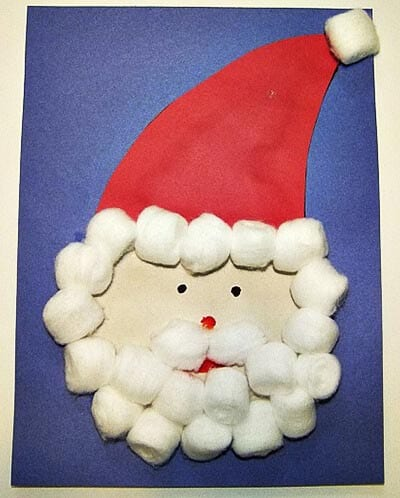 Аппликация Дед Мороз из ваты
