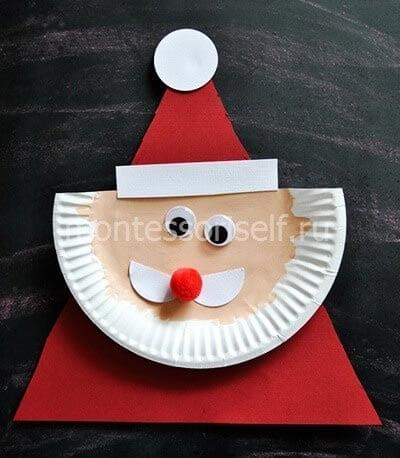 Аппликация Дед Мороз из бумаги