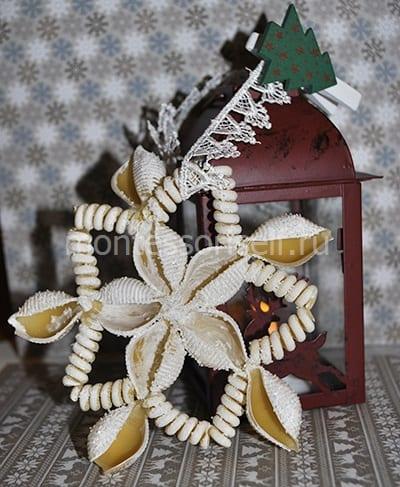 Зимняя поделка снежинка из макарон