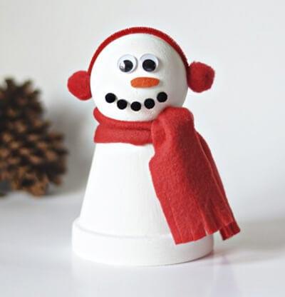 Снеговик из стаканчика в наушниках