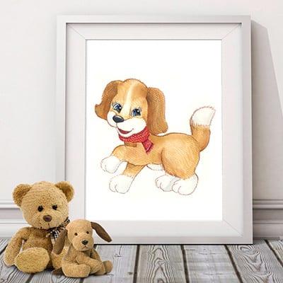 Картина с собачкой - символом 2018 года