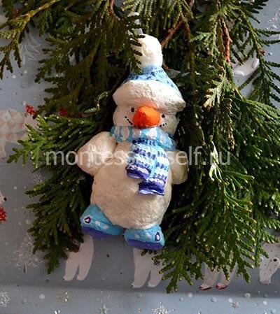 """Елочное украшение """"снеговик"""" своими руками"""