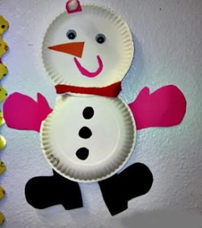 Аппликация снеговик из бумажных тарелок
