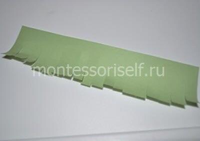 Надрезаем зеленую полоску