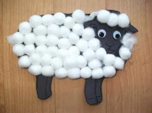 Поделка овечка из ваты 2