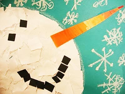 Аппликация голова снеговика