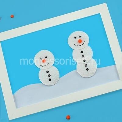 """Аппликация """"снеговик"""" из ватных дисков"""