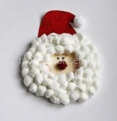 Аппликация Дед Мороз из ватных шариков с попмоном