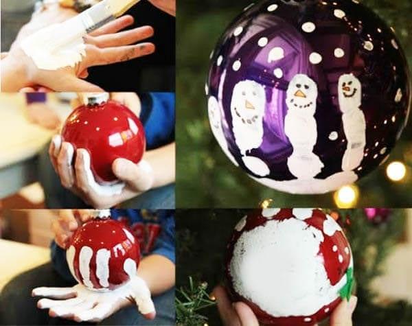 Новогодний шарик с отпечатком ладошки