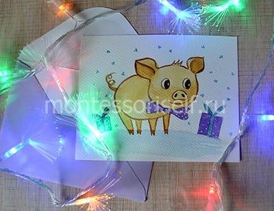 Картина с символом 2019 года Свинкой