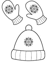 Coloring cap and mittens