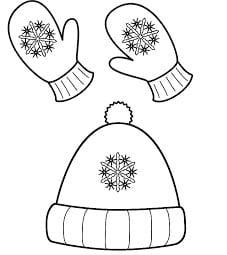 Раскраска шапочка и варежки