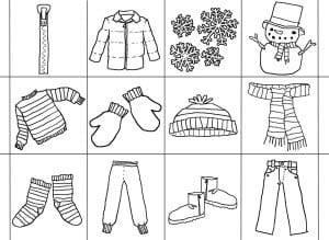 Ребенок в зимней одежде раскраска