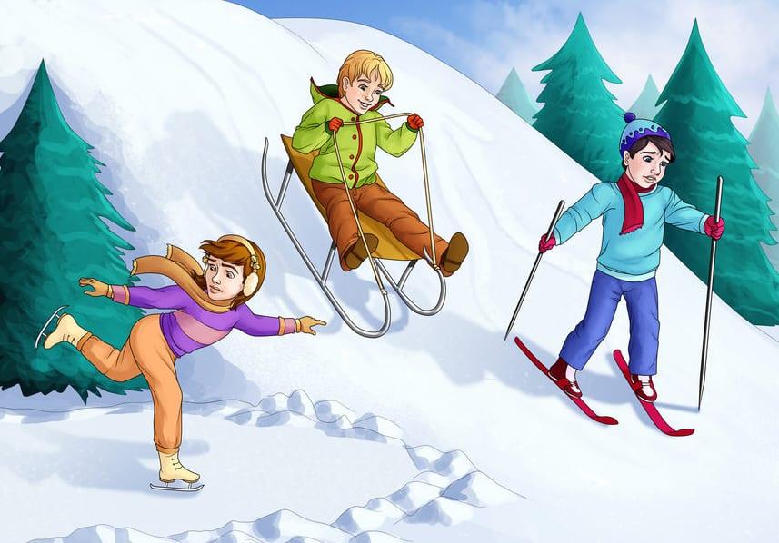 Коньки, лыжи и санки