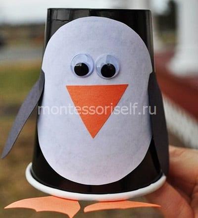 Пингвин из бумажного стаканчика 2