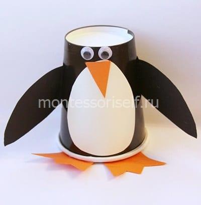 Пингвин из бумажного стаканчика 1