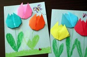 Тюльпан оригами на 8 марта