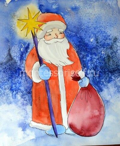 Зимний рисунок Дед Мороз