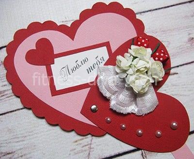 Открытка в виде сердца из бумаги